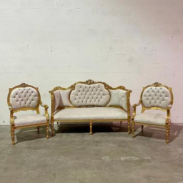 French Chair Vintage Settee *3 Piece Set Available* Vintage Furniture Off-White Velvet Chair French Interior Design Rococo Furniture Baroque by SittinPrettyByMyleen