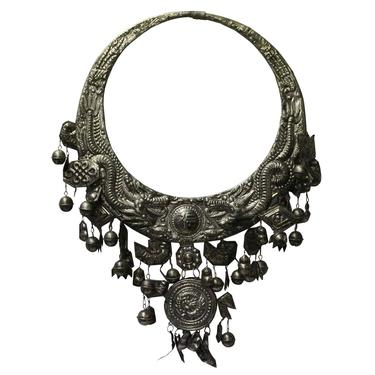 Chinese Miao Tribe Silver Color Nickel Necklace Wall Decor Accent cs3843E by GoldenLotusAntiques