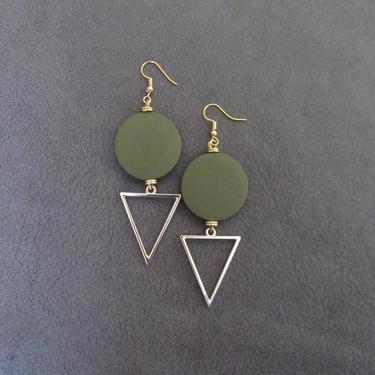 Large khaki earrings, Geometric earrings, African Afrocentric earrings, bold statement earrings chunky earrings, unique Art Deco, gold by Afrocasian