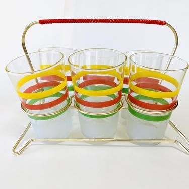 Vintage Shot Glass Set, 50s shot glass, Mid Century shot glasses, vintage barware 7-piece set of shot glasses, atomic glasses, vintage bar by dadacat