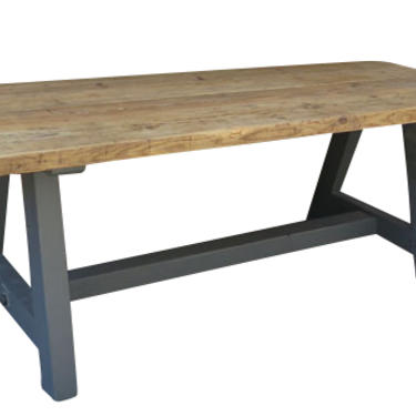 Reclaimed English Pine Trestle Table with painted base and hand rubbed wax finish.