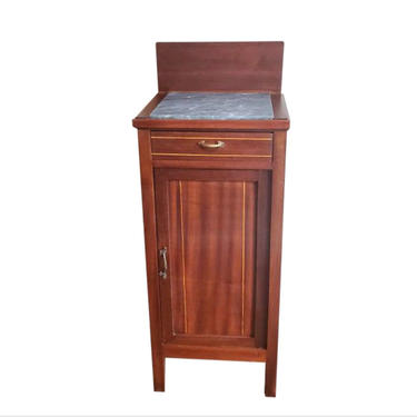 Late 19th / Early 20th Century Italian Art Nouveau Period Mahogany Bedside Cabinet Nightstand or End Table w/ Marble Top & Backsplash c.1900 by LynxHollowAntiques