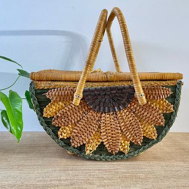 Vintage Wicker Basket With Handles and Lid - Large Green Sunflower Basket - Wicker Picnic Basket with Lid - Hand Made Basket-Green Sunflower by SoulfulVintage
