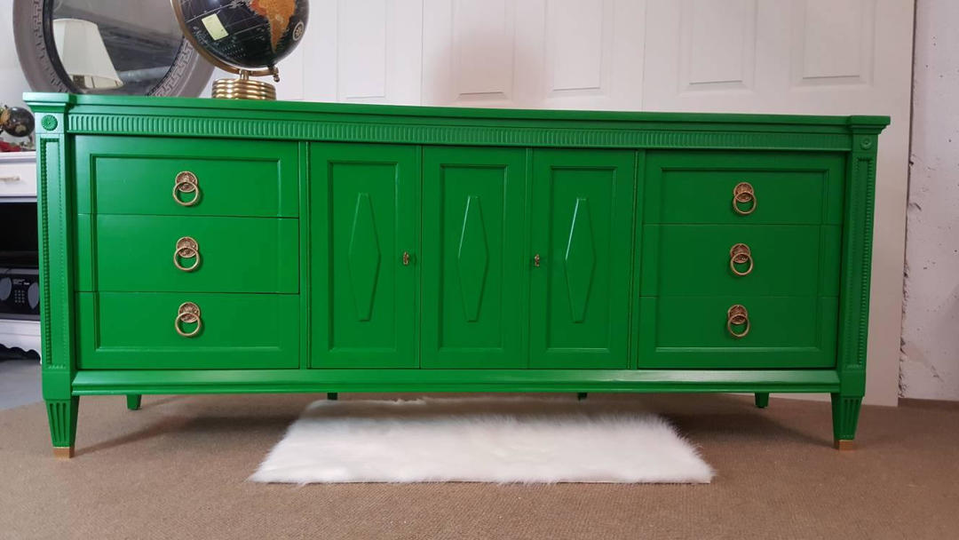 Solid Wood Hollywood Regency Dresser Buffet Console By