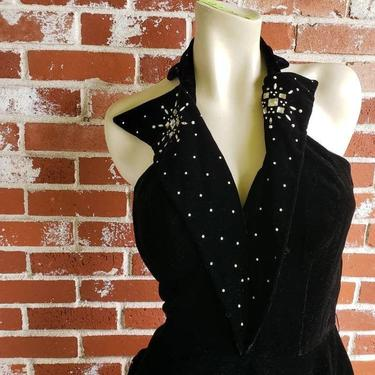 Vintage 40s/50s Black Velvet Halter Dress Old Hollywood Glam !! Beads and Peplum S/M by FlashbackATX