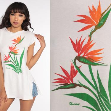 Hawaii Shirt 80s Bird Of Paradise Shirt Tropical Floral Shirt 1980s Graphic Tshirt Cap Sleeve Vintage Travel White Small S by ShopExile