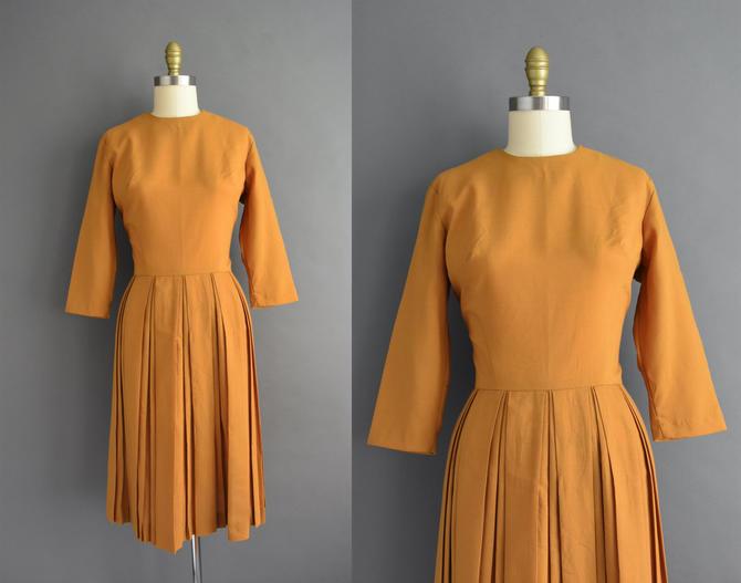 vintage 1950s   Judy Lue Golden Mustard Cotton Pleated Full Skirt Shirt Dress   Medium   50s dress by simplicityisbliss