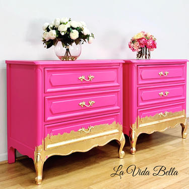 Hot Pink French Nightstands, French Chests, Side Tables, End Tables by LaVidaBellaDesign