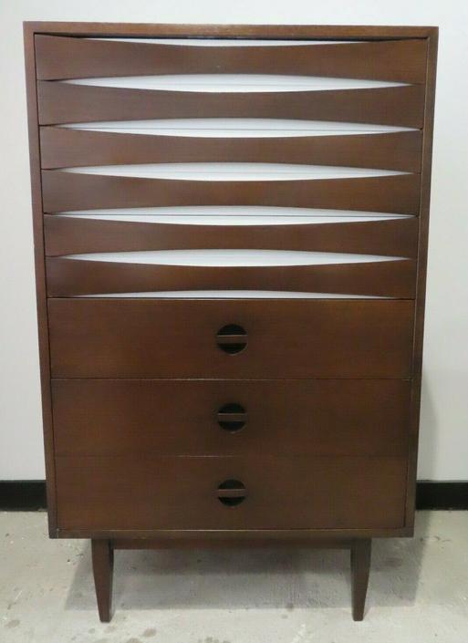 ARNE VODDER STYLE MID CENTURY WALNUT TALL DRESSER chest of drawers bureau