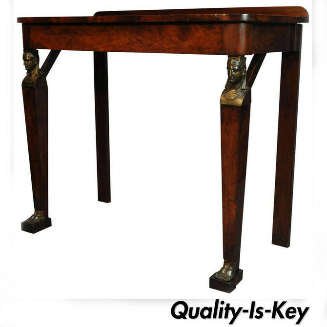 19th Century French Empire Figural Flame Mahogany One Drawer Console Hall Table