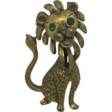 70s Green Eyed Lion Pin