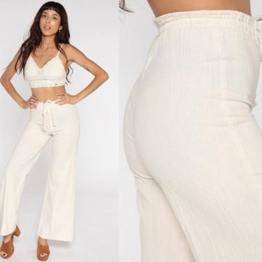 Cream Bell Bottoms Pants 70s Boho Hippie Crinkled Cotton Bellbottom High Waisted 1970s Vintage Bohemian Trousers High Rise Small S by ShopExile