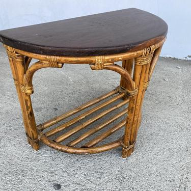 Restored Half Round Rattan Side Table with Mahogany Top by HarveysonBeverly