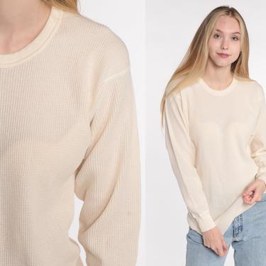Cream Thermal Shirt Long Underwear Long Sleeve Shirt WAFFLE KNIT Shirt 80s Under Shirt T Shirt Underwear Retro Tee Vintage Medium Large by ShopExile