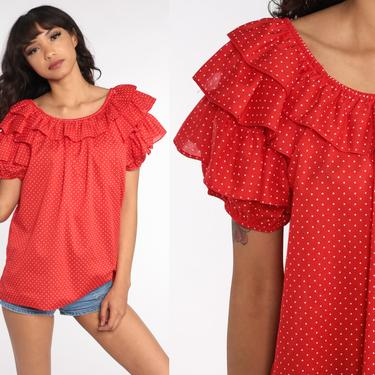 Red Polka Dot Shirt Ruffle Peasant Top Boho Blouse 80s Button Up Shirt 1980s Top Short Flutter Sleeve Top Vintage Bohemian Large by ShopExile