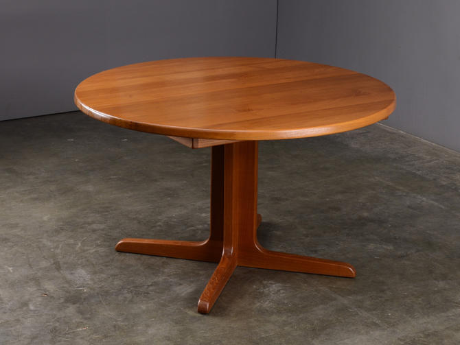 4ft+ Solid Teak Dining Table Round to Oval Danish Modern by MadsenModern