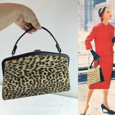 A Dash to the Mid Town Ferry - Vintage 1950s 1960s Faux Leopard Fur Large Purse Handbag by RoadsLessTravelled2