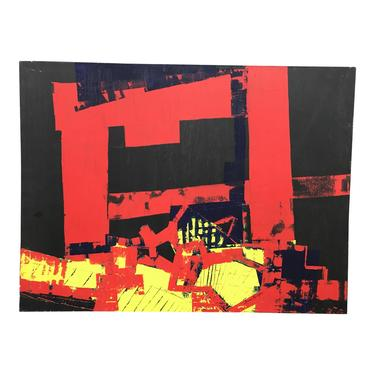 Vintage Abstract Painting Red on Black 1987