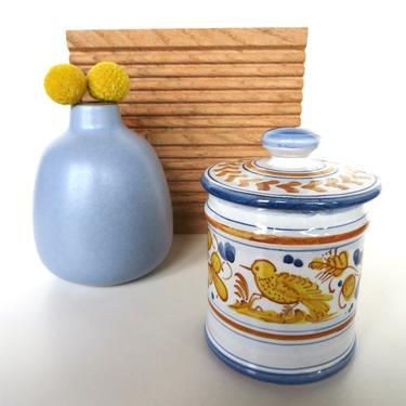 Vintage  MARI DERUTA Pottery Jar From Italy, Small Hand Painted Yellow Bird Condiment Jar - 2 Available by HerVintageCrush