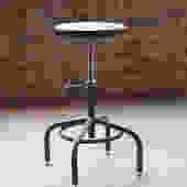 Industrial Stool Adjustable Drill Press Stool Ebony Beech wood top bar stools by CamposIronWorks