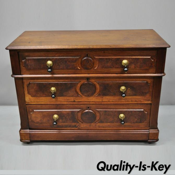 Antique Eastlake Victorian Walnut Chest of Drawers Dresser w/ Hidden Drawer