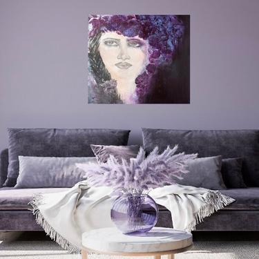 Woman Portrait Floral Canvas Print ~  Bohemian Portrait Art ~ Woman's Floral Portrait ~ Purple Floral Portrait Art ~ Braids In Her Hair Art by DareToBeVintage