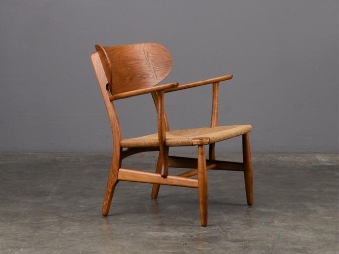 Hans Wegner CH22 Lounge Chair Oak Mid Century Danish Modern by MadsenModern