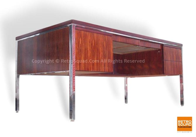 Brazilian Rosewood Danish Modern Executive Desk from Alma Desk Comapny in The Style of Richard Schultz for Knoll, Herman Miller MCM by RetroSquad