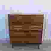 Mid Century Highboy Dresser with Brass Hardware