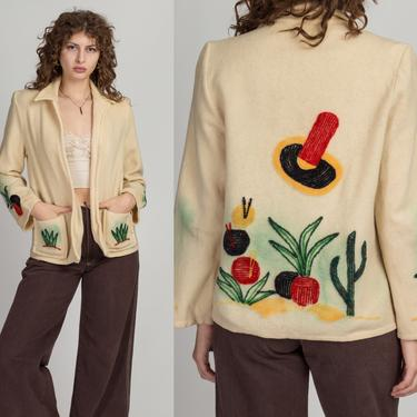 Vintage 1940s La Muchacha Mexican Embroidered Souvenir Jacket - Medium | Vintage Open Fit Distressed Wool Top by FlyingAppleVintage