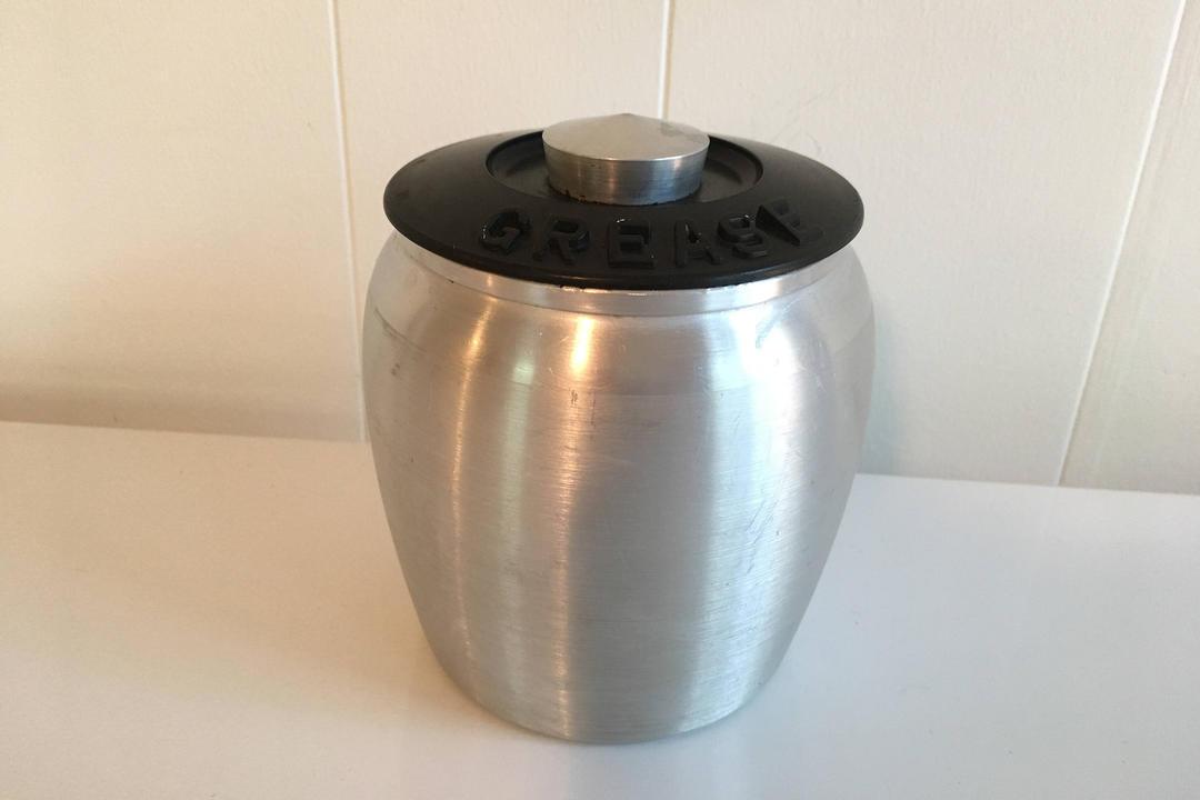Vintage Aluminum Grease Canister Plastic Lid Metal Jar