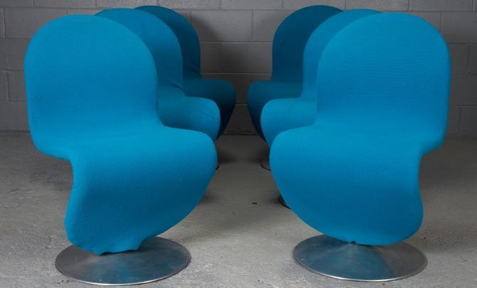 Set of Six Danish Modern 1-2-3 Chairs by Verner Panton for Fritz Hansen, 1950s