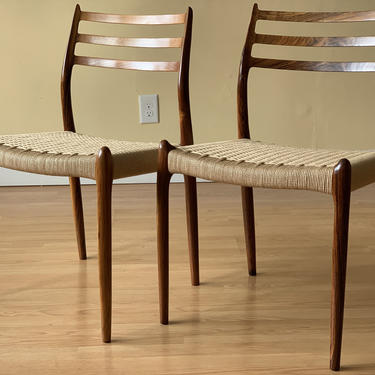 Set of Six Møller Model 78 Side Chairs, Designed by Niels Otto Møller, by J.L. Møllers Møbelfabrik, rosewood and Danish paper cord by ASISisNOTgoodENOUGH