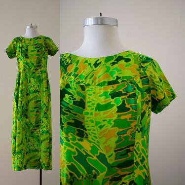 Vintage Long Cotton Dress /Hawaiian Dress / Vintage Hawaiian House Dress / Vintage Kaftan / Vintage Tiki Party Dress by milkandice