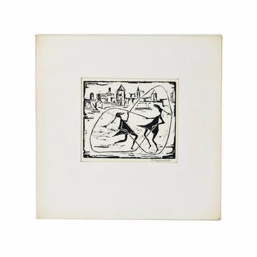 "Fred Rappaport ""Jump Rope"" Double Dutch Woodcut Woodblock Print Chicago Artist by PrairielandArt"