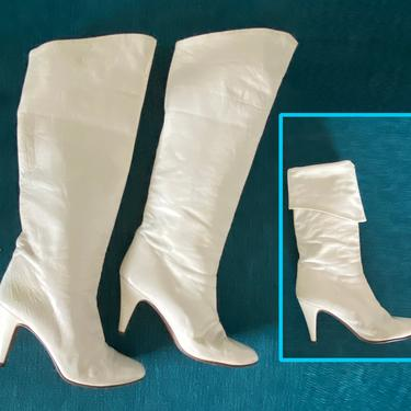 Vintage 80s White Leather Boots • High Heel Tall or Cuffed / Pirate Boots • Sexy New Wave • UE 37 • US 6.5 - 7 • Italian • Italy • Chantal by elliemayhems