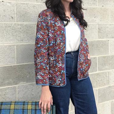 Vintage Jacket Retro 1970s Handmade + Quilted + Reversible + Double Sided + Ditzy Floral Print + Solid + Lightweight + Womens Apparel by RetrospectVintage215