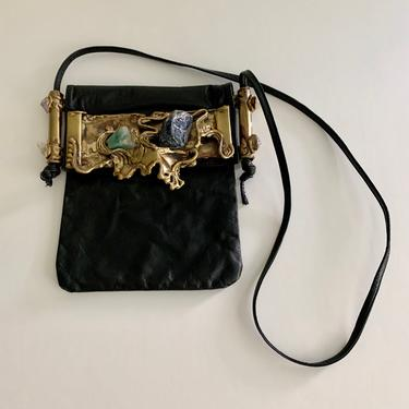 Wearable Art black crossbody bag w/cast metal and stones by MartinMercantile