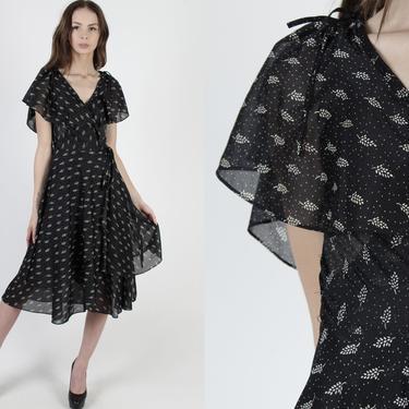 Black Floral Wrap Dress / Vintage 70s White Wildflower Dress / Long Waist Tie Ruffle Dress / 1970s Sheer Sun Casual Midi Maxi Dress by americanarchive