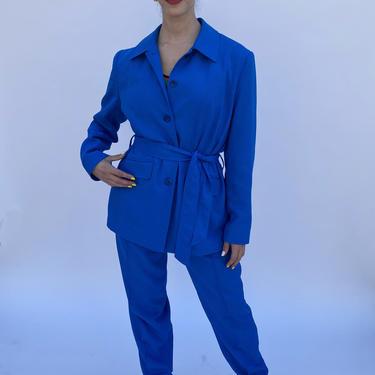Vintage 90s Royal blue Belted High waist baggy pants Jacket Blazer suit M L by prismavintageatx
