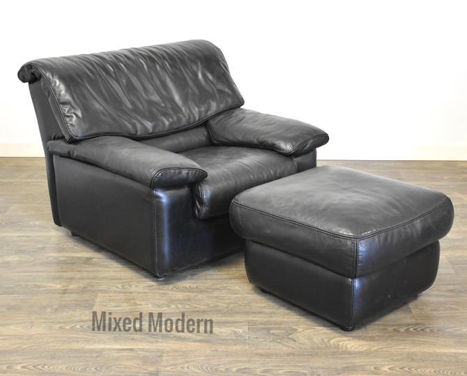 Roche Bobois Leather Lounge Chair & Ottoman by mixedmodern1