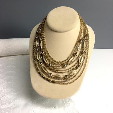 Kramer multi strand goldtone necklace - vintage fine costume jewelry by NextStageVintage