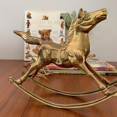 Large brass rocking horse by FrankiesVintageTrunk