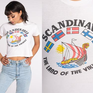Vintage Scandinavia Shirt Scandinavian Viking TShirt Crop Top Graphic Tshirt Souvenir Baby T Shirt 80s Travel Tee Norway Small S by ShopExile