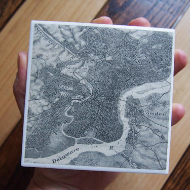 1930 Philadelphia Pennsylvania - Handmade Repurposed Vintage Map Coaster - Ceramic Tile - Repurposed 1930s Geography Textbook by allmappedout