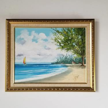 1980's Norma M. Carlson Cuban Beach Landscape Painting , Framed by MIAMIVINTAGEDECOR