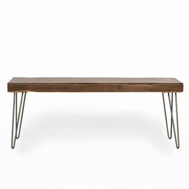 Wood Bench made with reclaimed wood planks and steel hairpin legs. Choice of size, wood thickness and finish.  Custom inquiries welcome. by UrbanWoodGoods