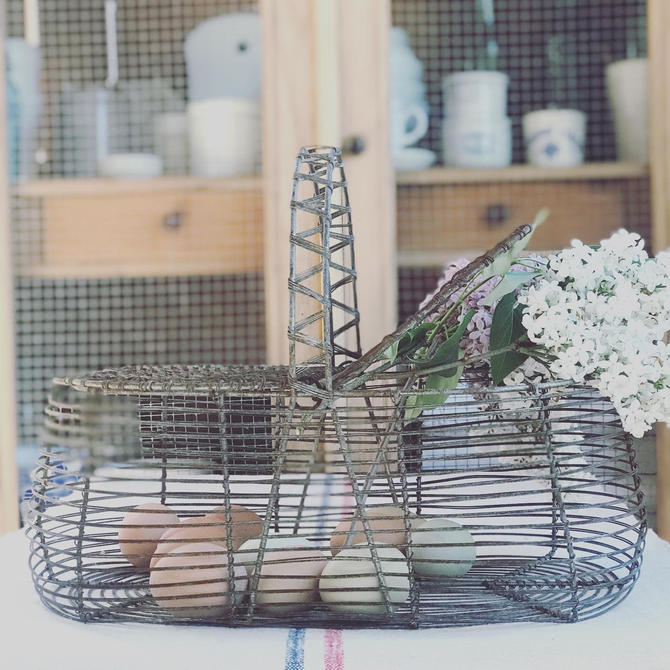 Beautiful rustic old French wire art work egg basket by Grainsacfrenchvintag