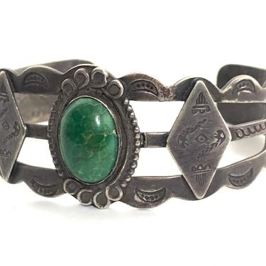 Vintage FRED HARVEY Era Sterling Silver & Turquoise NAVAJO Bracelet / Cuff ~ Arrow ~ Old Pawn ~ Antique ~ Stamped ~ by SparrowsAndWolves