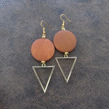 Large orange earrings, Geometric earrings, African Afrocentric earrings, bold statement earrings chunky earrings, unique Art Deco, gold by Afrocasian